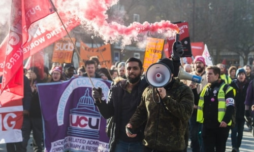 Striking members of the UCU and other unions at University College last year. Photograph: Guy Smallman/Getty